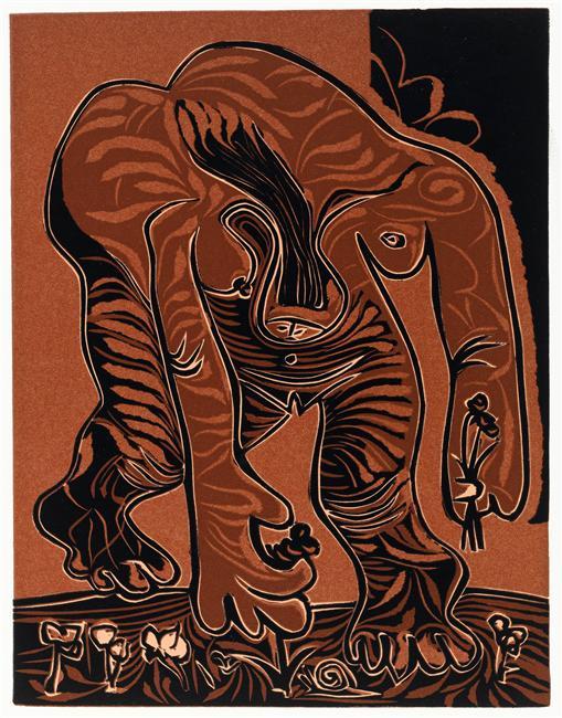Picasso's painting Femme nue cueillant des fleurs, IIIe état