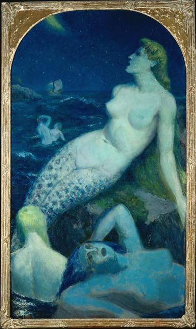 Paul-Alex Deschmacker, La grande sirène bleue, huile sur toile, 211 X 121 cm, 1945, Don de Madame Deschmacker au musée de Roubaix en 1986