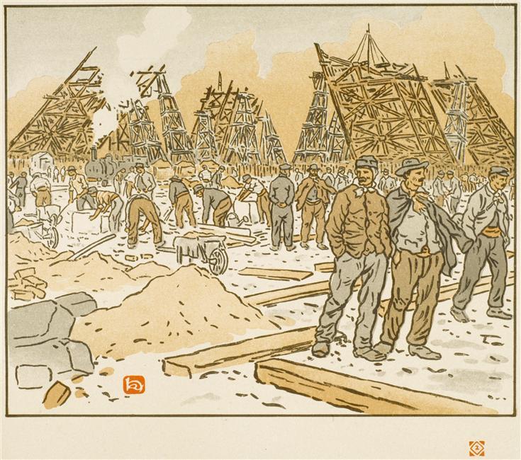 Henri Rivière, le chantier de la Tour Eiffel